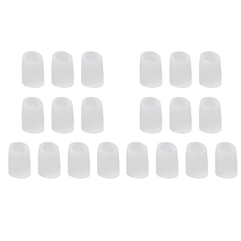 枕実験をする無傷足指保護キャップ つま先プロテクター つま先 キャップ シリカゲル 柔軟性 洗える 20個 全2サイズ - L