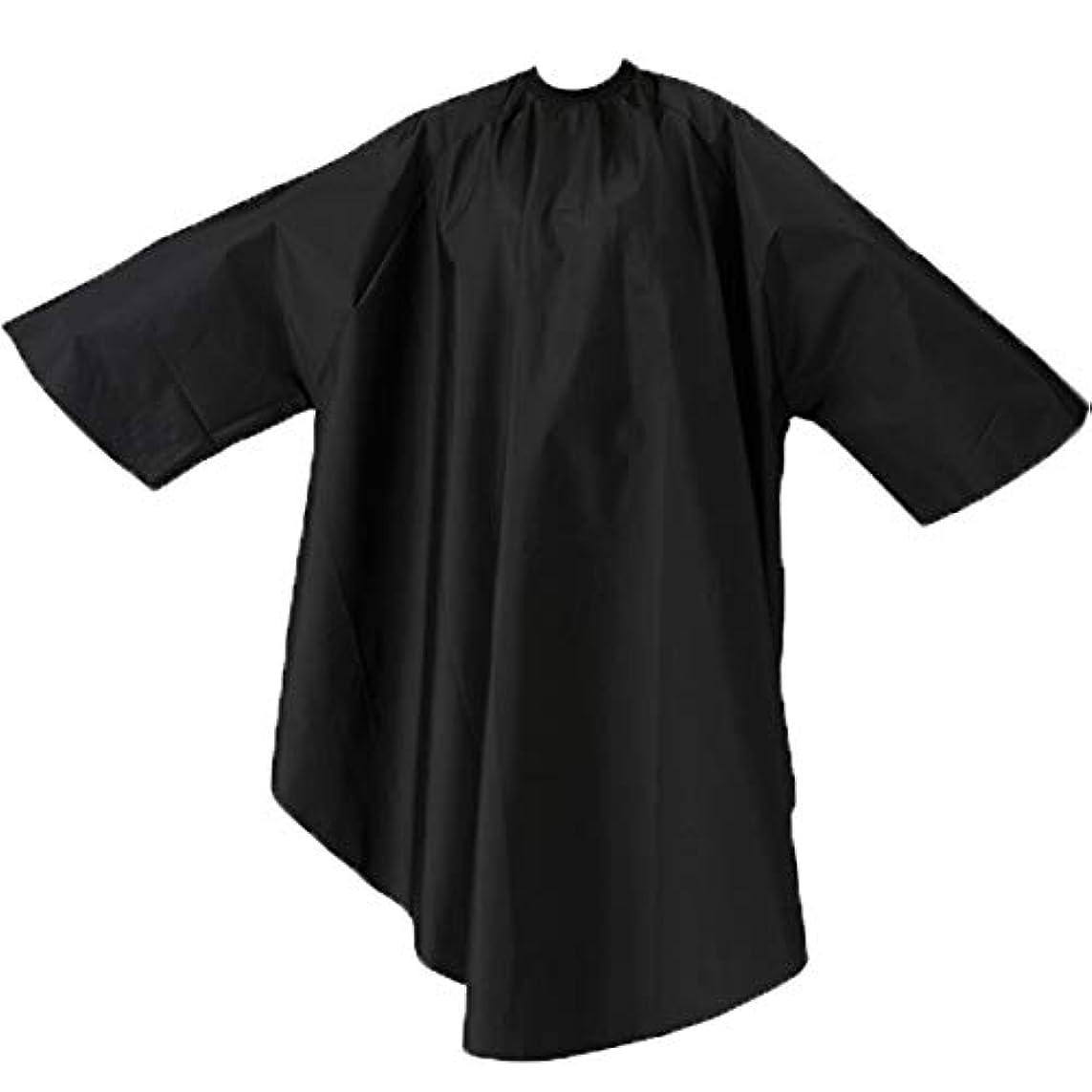 飢船尾材料エルコ 9762 ザ?クロス SKITT II 袖付 ヘアダイ&カットクロス ナイロン100% ヘアカラー/散髪ケープ/カットクロス/刈布 ELCO (首回り52cm, ブラック)