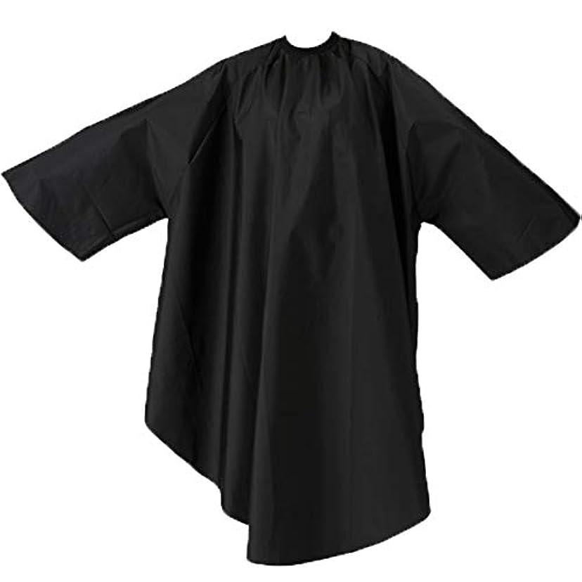 異形夏化粧エルコ 9762 ザ?クロス SKITT II 袖付 ヘアダイ&カットクロス ナイロン100% ヘアカラー/散髪ケープ/カットクロス/刈布 ELCO (首回り52cm, ブラック)
