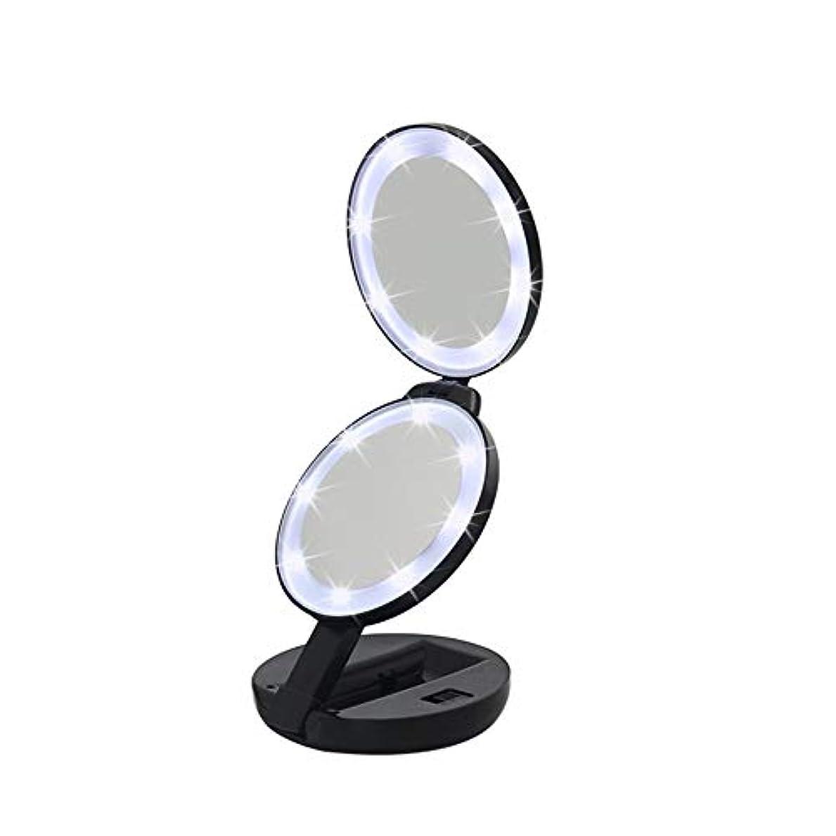 怪物スリップシューズ喉が渇いた流行の 新しいラウンド三つ折りLEDフィルライト化粧鏡ABS素材虫眼鏡ハンドヘルド美容ミラーブラック