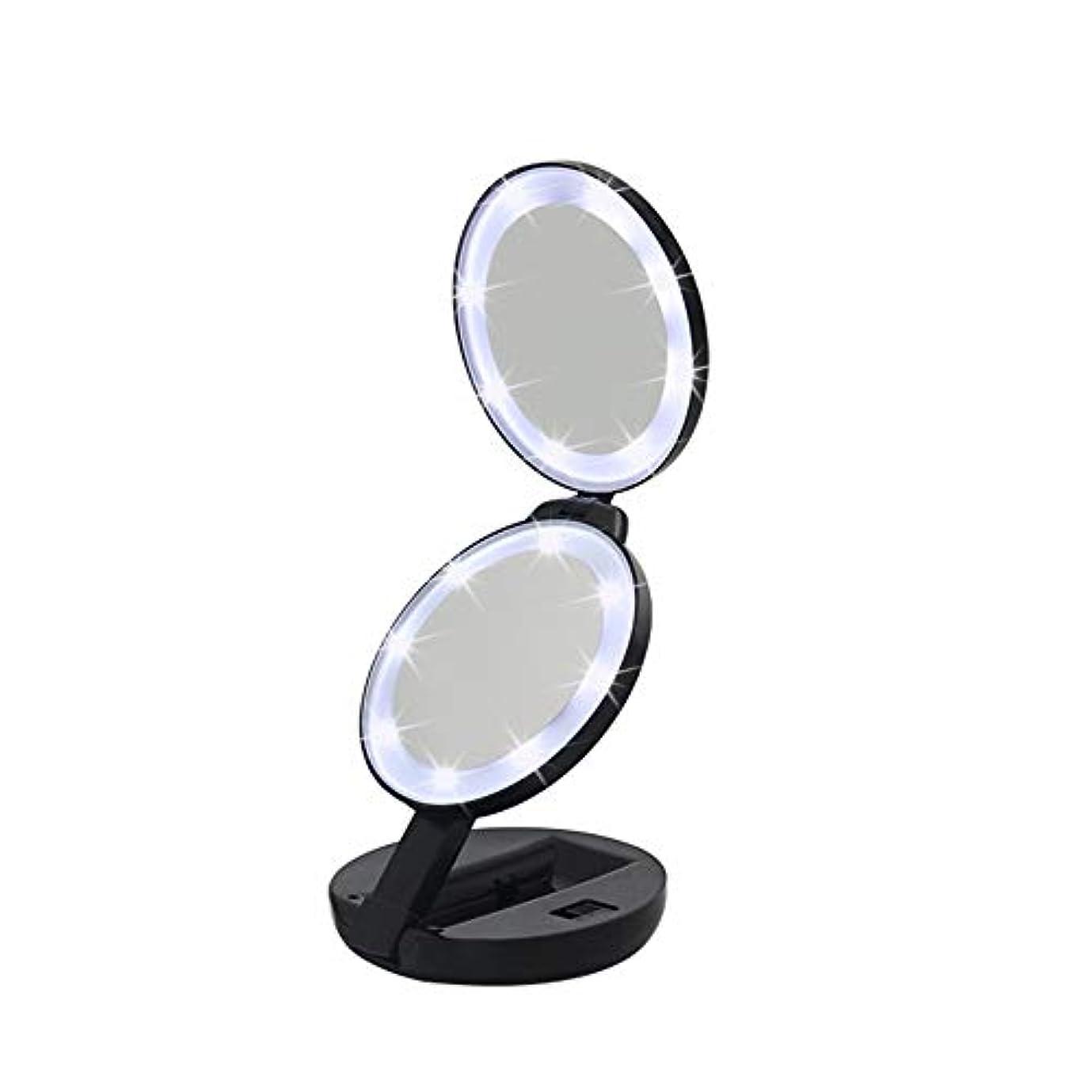 必要性海峡郵便流行の 新しいラウンド三つ折りLEDフィルライト化粧鏡ABS素材虫眼鏡ハンドヘルド美容ミラーブラック
