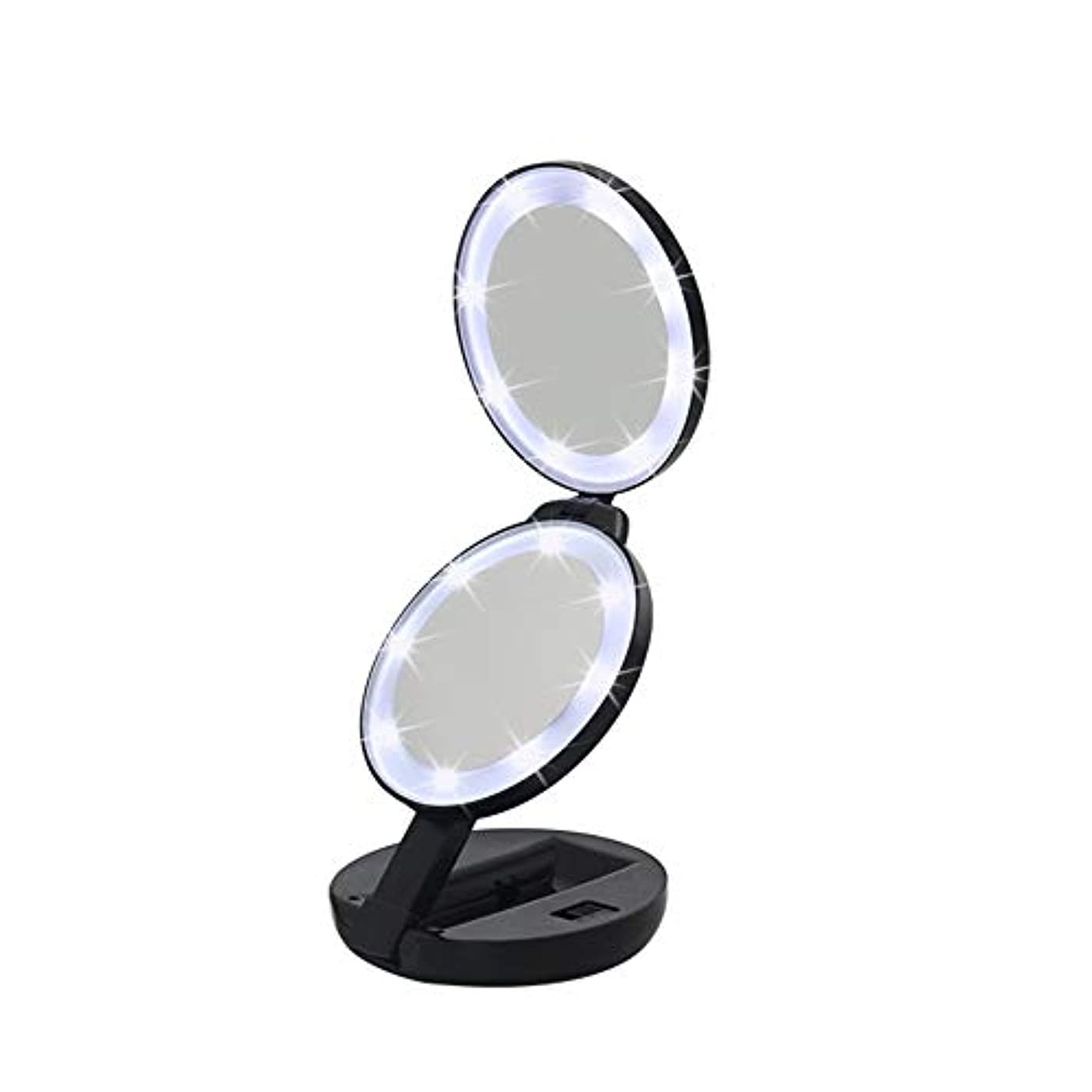 ビュッフェネットボーダー流行の 新しいラウンド三つ折りLEDフィルライト化粧鏡ABS素材虫眼鏡ハンドヘルド美容ミラーブラック