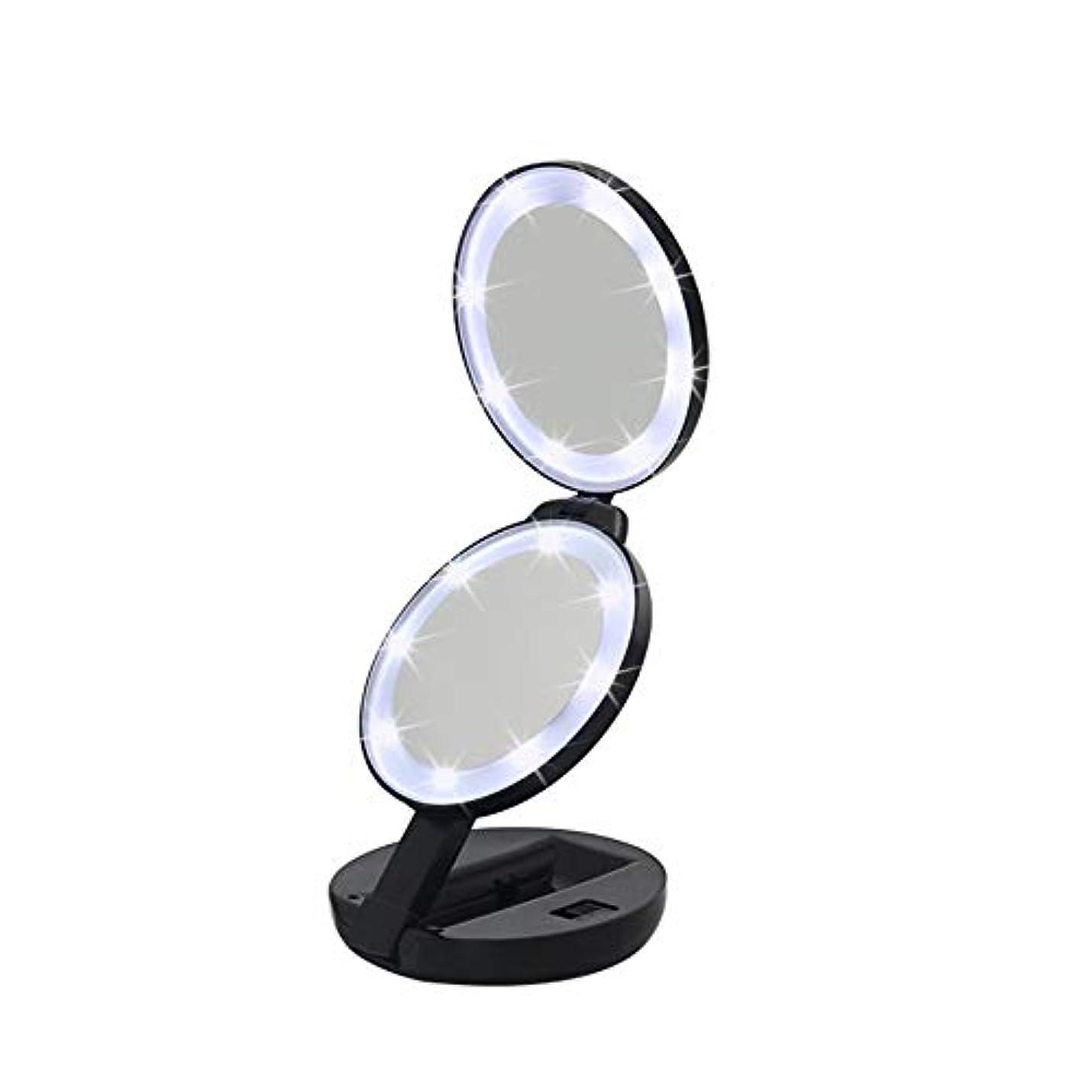 ポスター戻す入射流行の 新しいラウンド三つ折りLEDフィルライト化粧鏡ABS素材虫眼鏡ハンドヘルド美容ミラーブラック