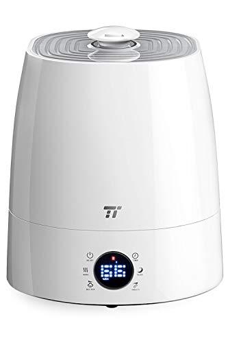 加湿器 TaoTronics 5.5L大容量 冷霧・熱霧変換可 超音波式 ミスト3階段調節 6つのLEDアイコン お手入れ簡単 省エネ 湿度センサー 24時間連続加湿 ノズル360度調節可 空焚き防止 12~24畳 [一年間安心保証] TT-AH007