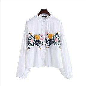 花柄刺繍 シャツ 刺繍ブラウス レディース トップス ブラウス 透け感 花柄 プルオーバー スキッパー スキッパーシャツ イレギュラーヘム 抜け感 ホワイト S/M/L/サイズ