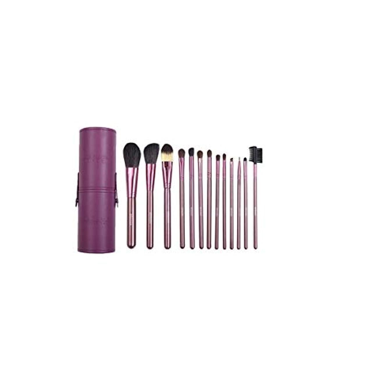 技術的なバスルームはさみTUOFL メイクブラシセットメイクブラシセット7ピース、美容ツールメイクブラシセット13バレルチューブメイクアップツールアイシャドウブラシ、パープル (Color : Purple)