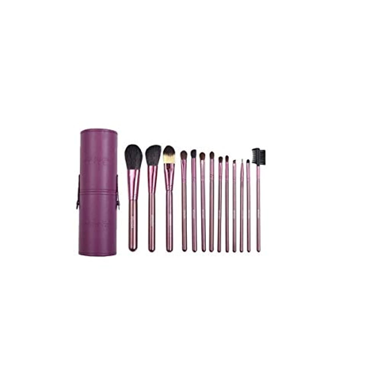 コントロール順応性のあるカエルXIAOCHAOSD メイクブラシセットメイクブラシセット7ピース、美容ツールメイクブラシセット13バレルチューブメイクアップツールアイシャドウブラシ、パープル (Color : Purple)