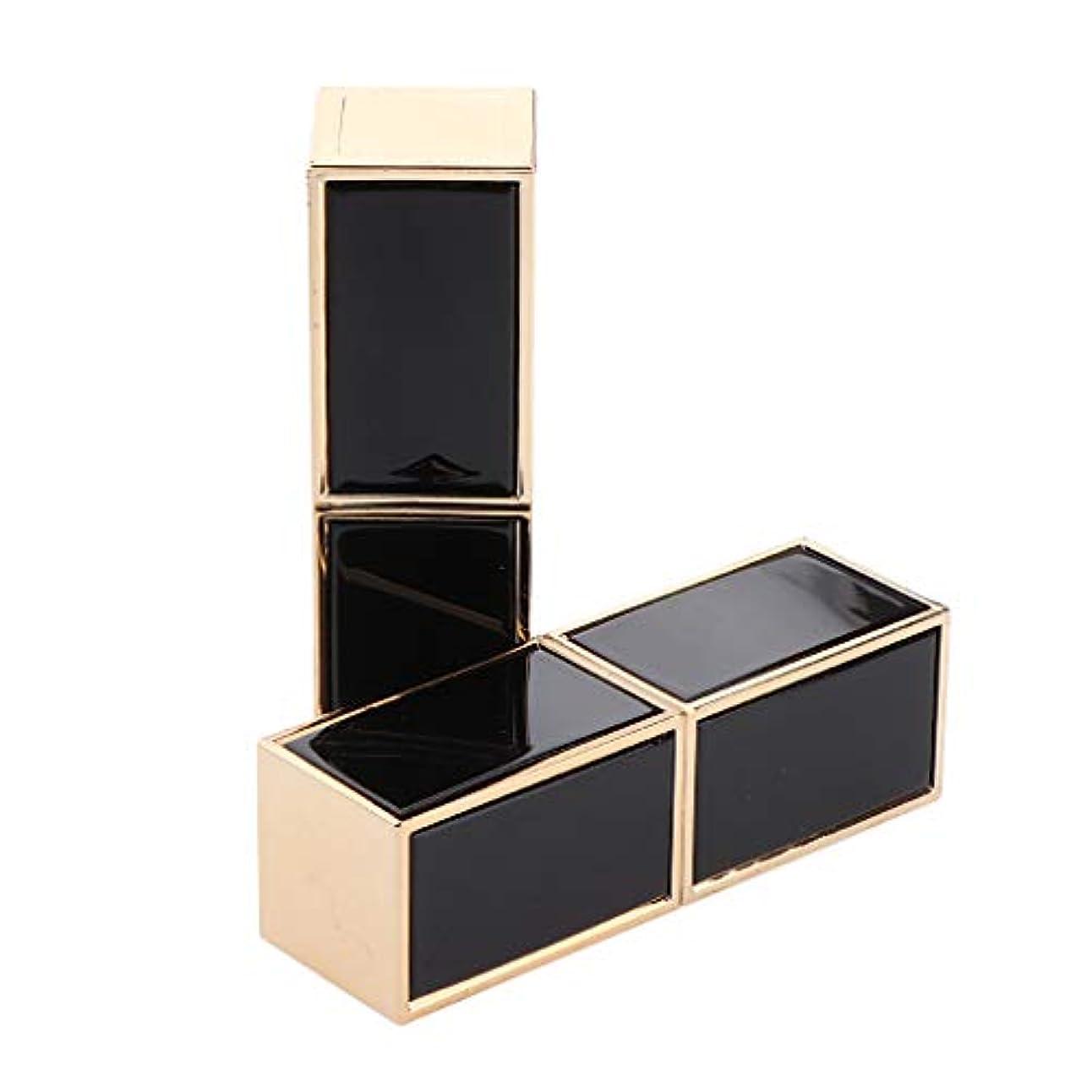 広まった補助色2本 空の口紅チューブ リップクリームチューブ 正方形 - ブラック