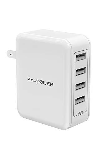 RAVPower USB 充電器 [4ポート/40W/折り畳み式プラグ/急速充電] AC アダプター iPhone/iPad/Android その他のUSB機器対応 RP-PC026 ホワイト
