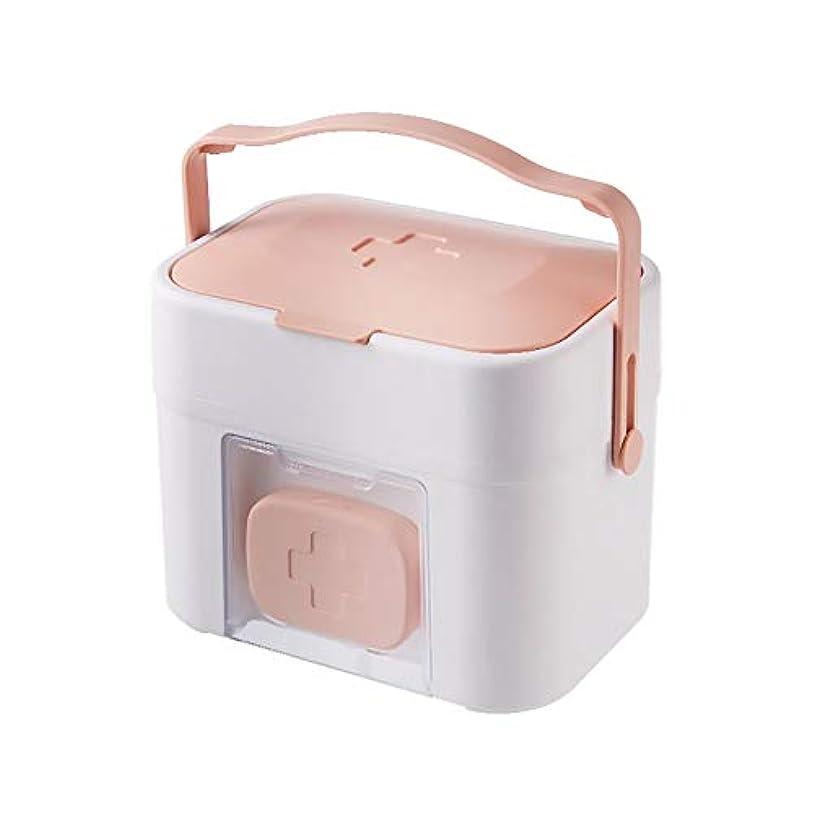 物理的な一月青写真ZHILIAN& 大容量薬箱ブルーピンクポータブルポータブルホーム緊急キット多機能ツールボックス収納ボックス27×19×22センチ (Color : Pink)