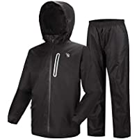 GEEK LIGHTING Men's Hooded Windproof and Waterproof Rain Jacket Lightweight Rainwear (Jacket & Trouser Suit)