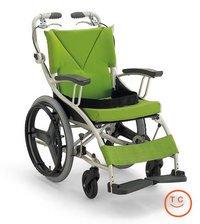 1台3役の自走用車椅子18インチ(AY18-38)/若葉色