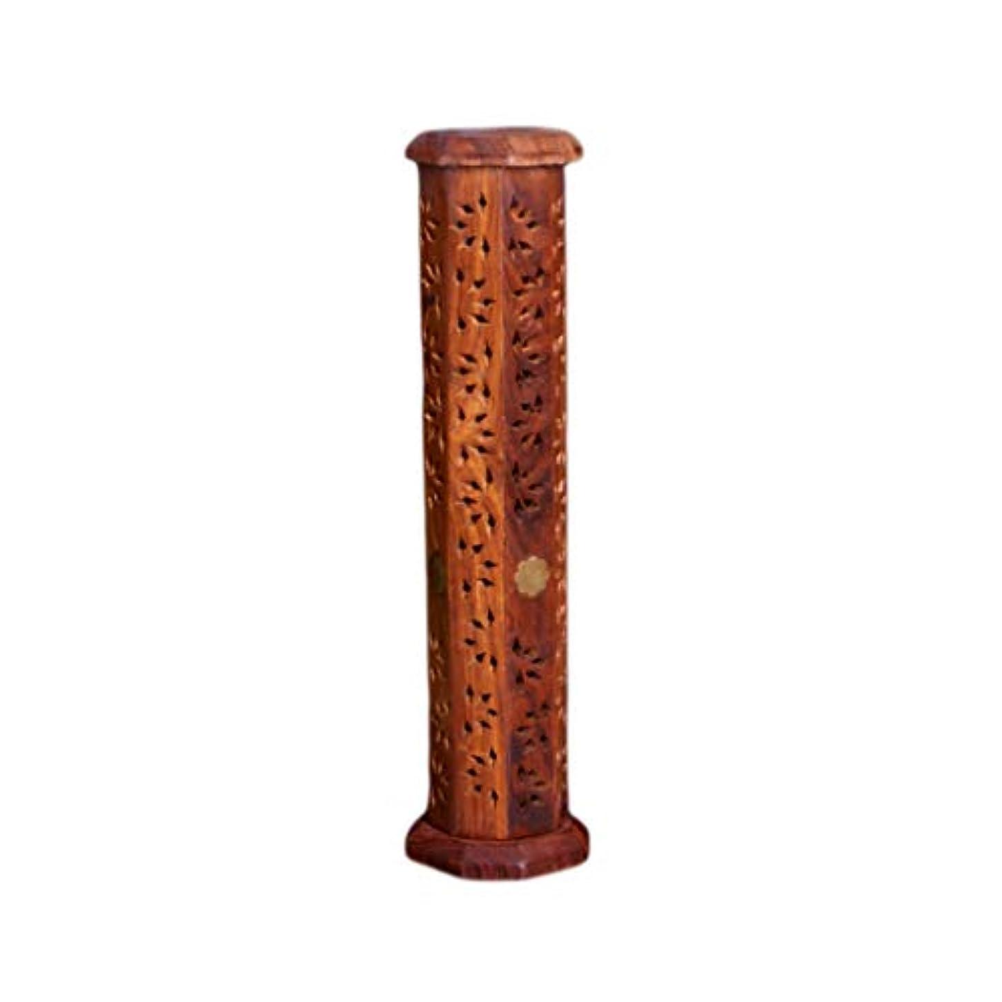 スポンジコミットメントしかしウッドタワー香バーナー透かし彫り仏香スティックコーンバーナーホルダーホームフレグランス装飾香ホルダー (Color : Brown, サイズ : 2.95*12inchs)