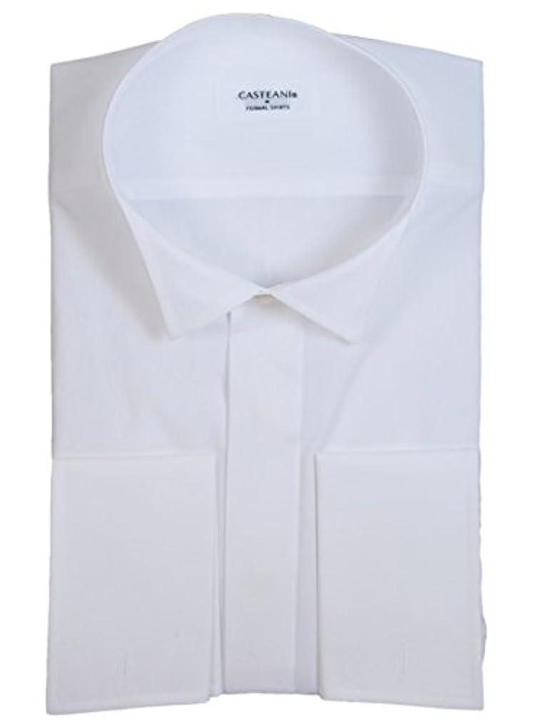 突き出す心配する天文学礼装倶楽部 比翼ウイングカラーシャツ 綿100% 細身タイプ 袖口ダブルカフス カフスボタン付き