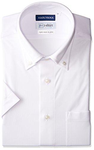 [ハルヤマ] i-shirt 【アマゾン別注】 ノーアイロン 半袖 ボタンダウンアイシャツ メンズ M162180033 ホワイト 日本 M(首回り39cm) (日本サイズM相当)