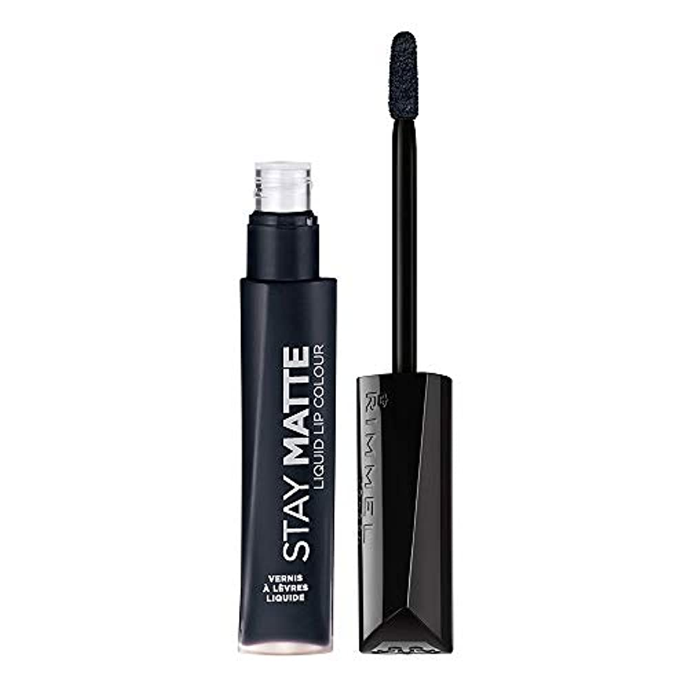 接続されたデッド結び目RIMMEL LONDON Stay Matte Liquid Lip Color - Pitch Black (並行輸入品)