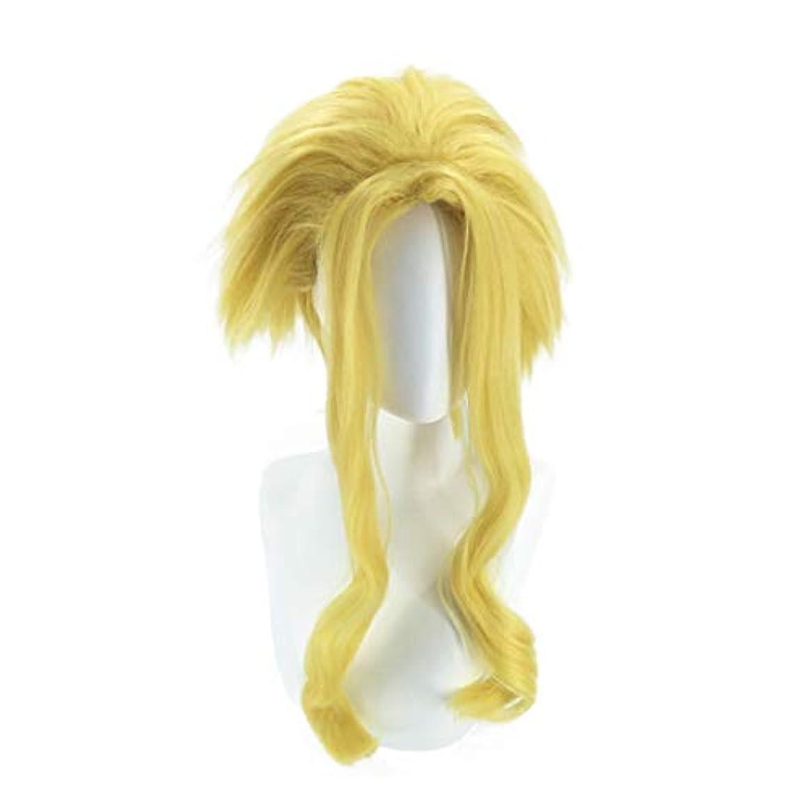 モールス信号パイント豊かなKoloeplf コスプレウィッグロングストレート人工毛フルウィッグナチュラルルッキング耐熱ウィッグ (Color : Gold)