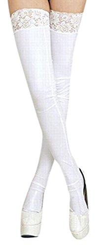 Beaumens長襪子假皮光澤蕾絲上衣