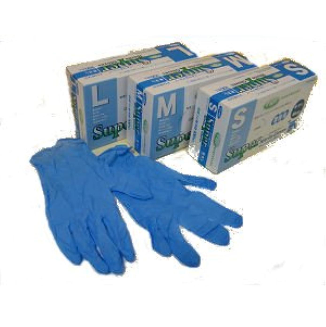 後者エゴマニアヒロイックスーパーニトリルグローブ粉なし100枚ブルー M