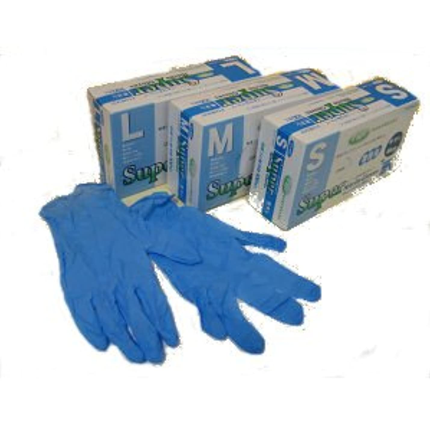 事前性的氏スーパーニトリルグローブ粉なし100枚ブルー M