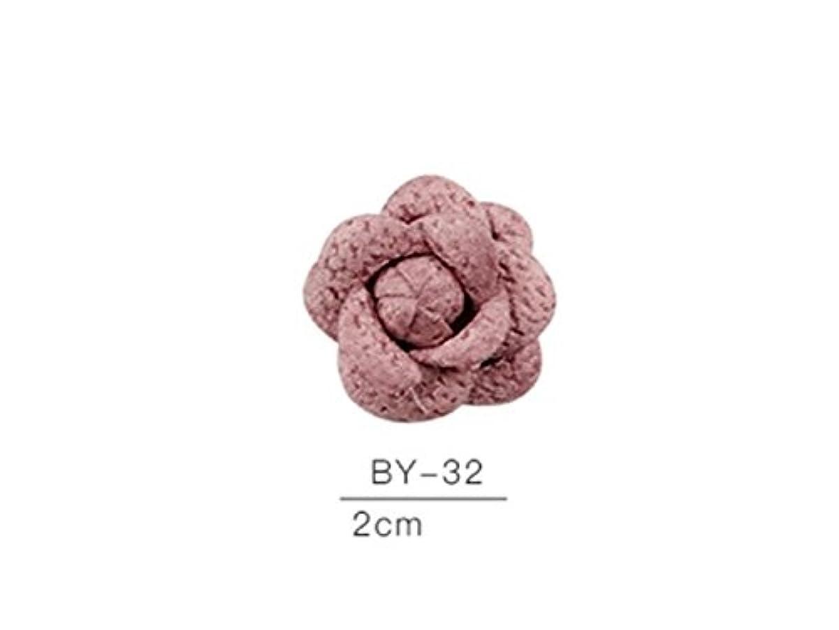 遅いコミュニティ主Osize カラフルネイルアート樹脂布カメリアネイルジュエリーファブリックネイルアートデコレーションネイルステッカー(ピンク)