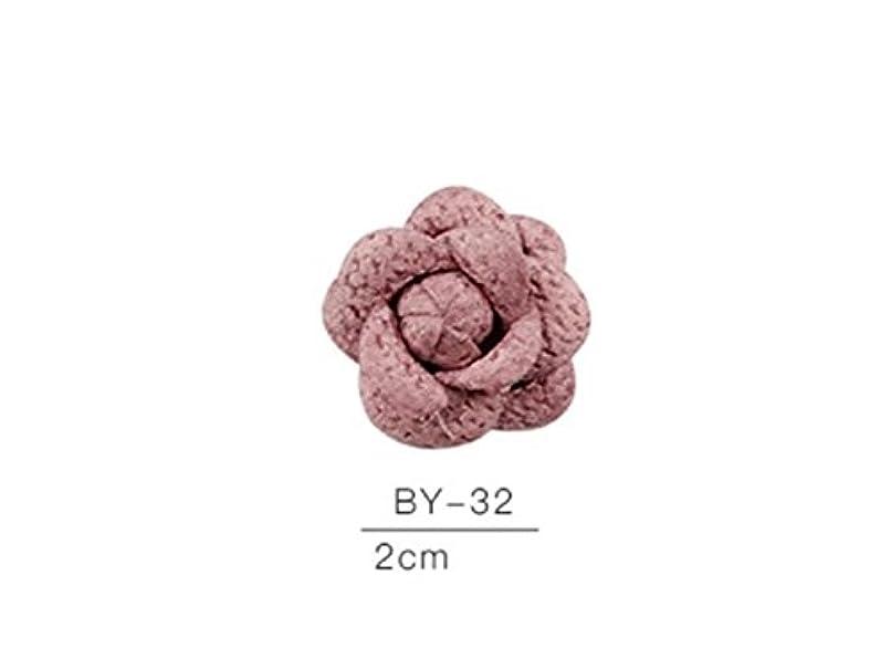 反乱飽和する位置するOsize カラフルネイルアート樹脂布カメリアネイルジュエリーファブリックネイルアートデコレーションネイルステッカー(ピンク)