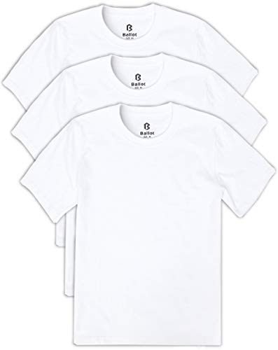 Ballot Tシャツ メンズ 無地 半袖 3枚組 綿100% (白, L)