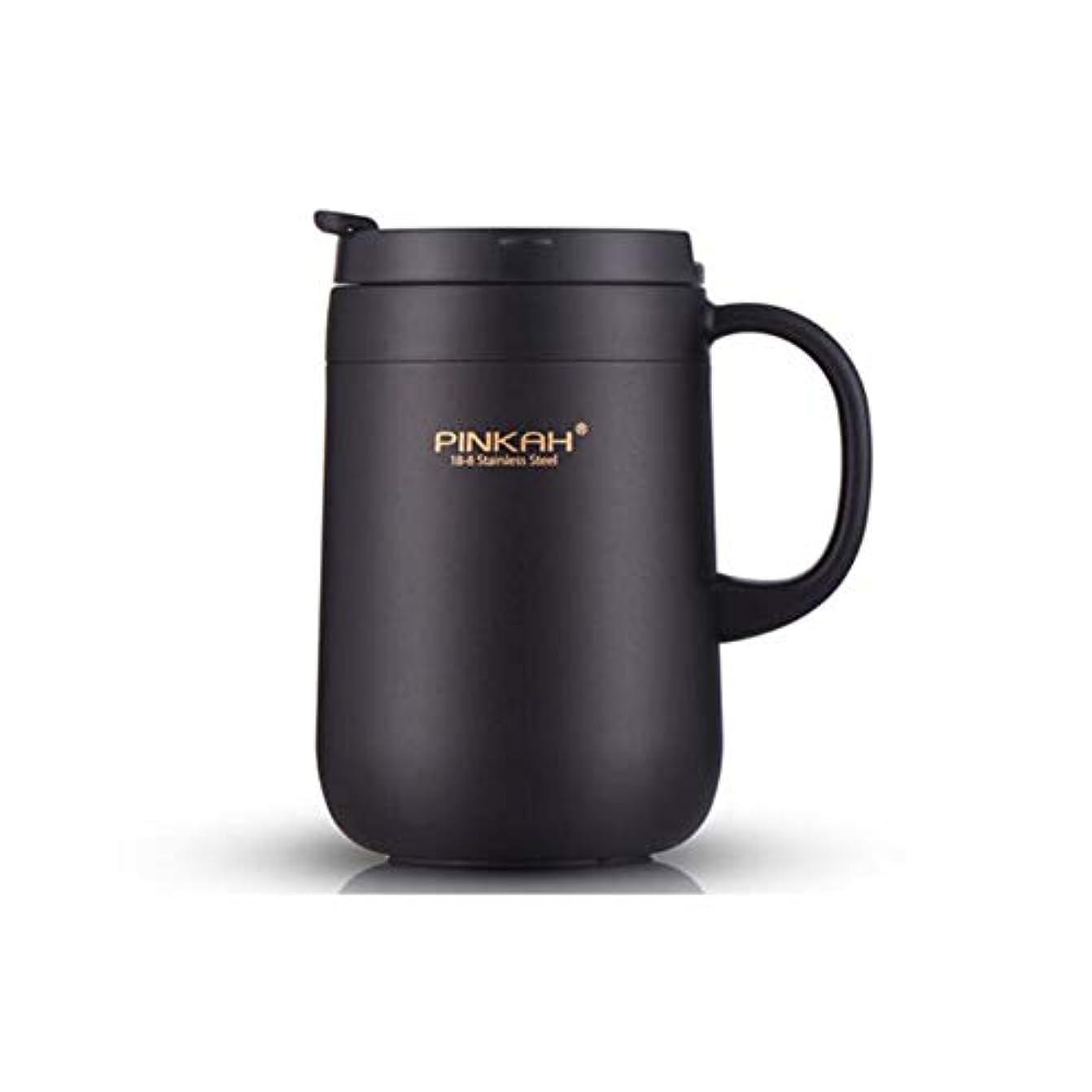 追加する慎重贈り物FH 304ステンレス鋼の真空フラスコ大容量のティーカップダブルカバーハンドルオフィスコーヒーカップ (色 : ブラック)