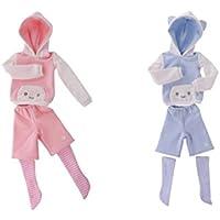 SONONIA 2セット お買い得 人形 ファッション 猫の耳型 パーカー  トップ  パンツ  ストッキング 服装  1/4 スケールBJD SD DD人形適用