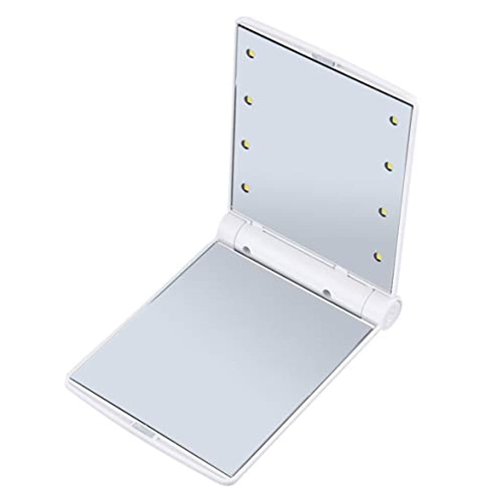 挑む意気揚々コメントIntercorey折りたたみ式ポータブルメイクアップミラーレディコスメティックミラー内蔵LED電球ミラー