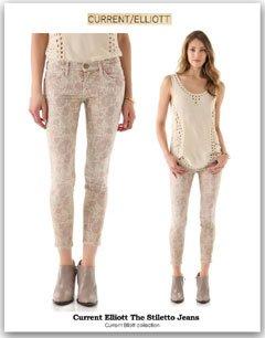 The Stiletto Jeansプリントデザインスキニーデニム・ジーンズ カレントエリオット