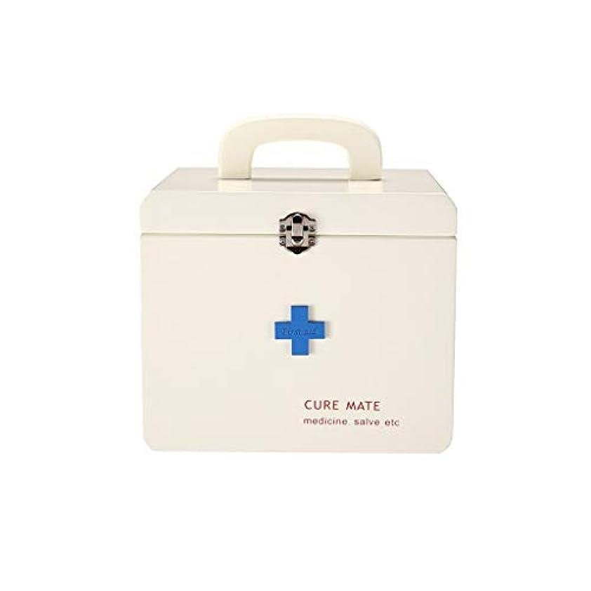 かろうじて識字図木の薬箱世帯の大きい救急箱の健康箱の薬の収納箱の二層の医療箱 AMINIY