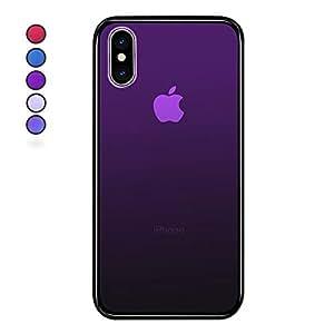 【SUMart】iPhone8ケース iPhone7ケース iPhone Xケース グラデーション 強化ガラスケース 硬度9H TPUバンパー ハードケース おしゃれ qi対応 傷つき防止 (iPhone X, ダークバイオレット)
