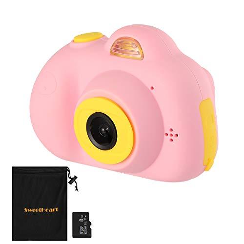 SweetHeart 子供用デジタルカメラ 子供プレゼント 800万画素 前後カメラ 2.0インチIPS画面 多機能 子供カメラ (8GB容量MicroSDカード付き, ピンク)