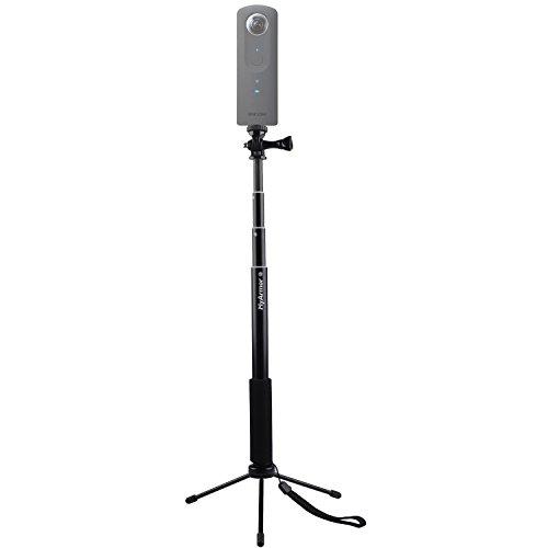 MyArmor 自撮り棒 (30~93cm) 一脚 アルミ合金製 iPhone/Gopro/カメラ/スマートフォン用 軽量・頑丈 伸縮自在 セルカ棒 四段 延長 ポール カメラスタンド 防水仕様(金属製折り畳み式三脚付き)