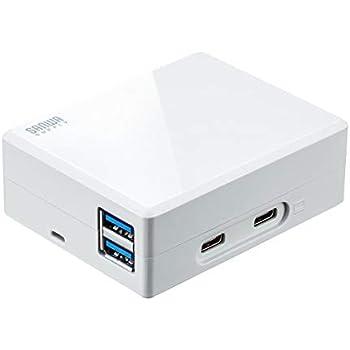 サンワダイレクト Type-C ACアダプタ 45W PD対応 HDMI出力/USB3.0×2/Type-C×1ポート付き 400-HUB063AC