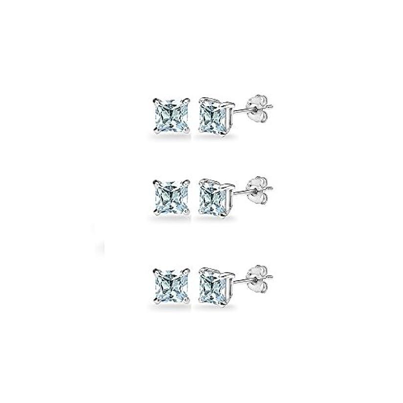 重なるレイプミュウミュウ3-pair設定スターリングシルバー宝石用原石プリンセスカット5 mmスクエアスタッドイヤリング