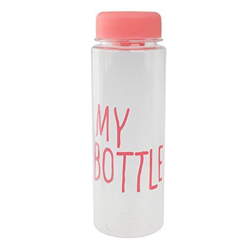 【ノーブランド 品】再利用可能  プラスチック製 ウォーターボトル 水ボトル ジュース 牛乳 カップ 手ボトル 500ML  全6色選べる - ピンク