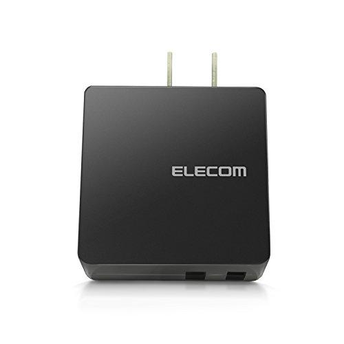 エレコム 充電器 ACアダプター 【iPhone & Android & IQOS & glo 対応】 折畳式プラグ USBポート×2 (2A出力) 急速充電 長寿命設計 ブラック MPA-ACUCN005ABK