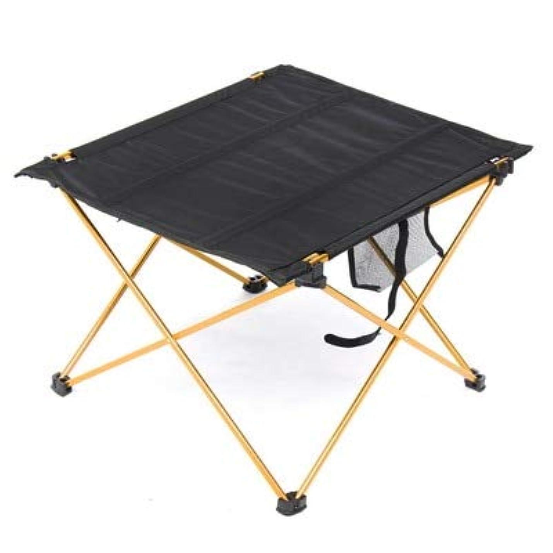理解する効果最大化するSemperole - キャンプアウトドアActivties折り畳み式のピクニックバーベキューデスク折りたたみテーブルイエロー用の軽量アルミ合金ポータブル折りたたみテーブル
