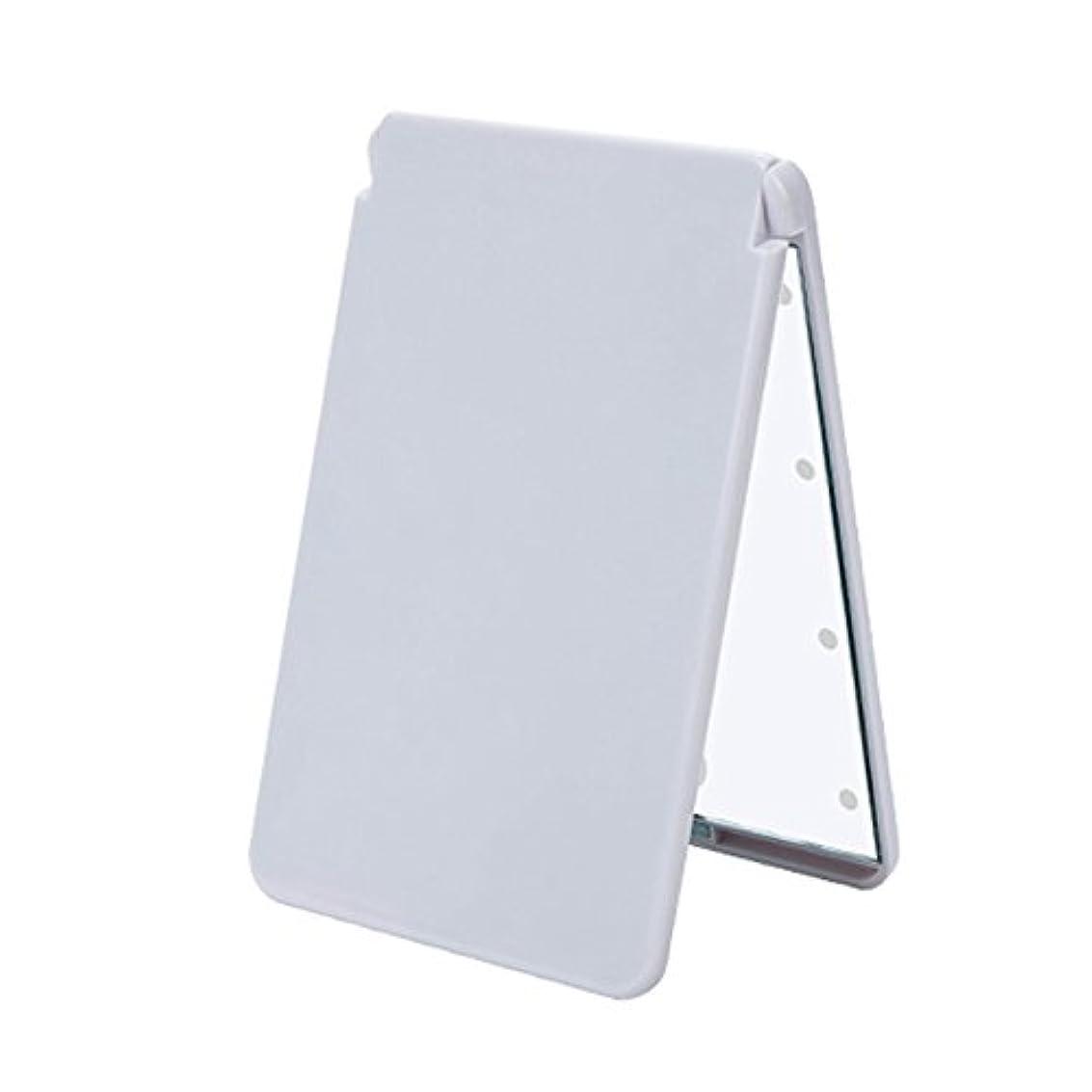 証言インフレーション晩餐ledメイクミラー 8 LED ライト 電池式 化粧鏡 折りたたみ コンパクトミラー 軽量 携帯便利 2倍拡大鏡付 二面鏡 ホワイト