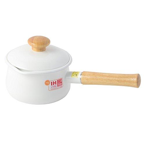 富士ホーロー 蓋付きミルクパン 15cm 1.2L ホワイト