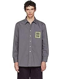(ラフ シモンズ) Raf Simons メンズ トップス シャツ Grey Denim Logo Patch Shirt [並行輸入品]