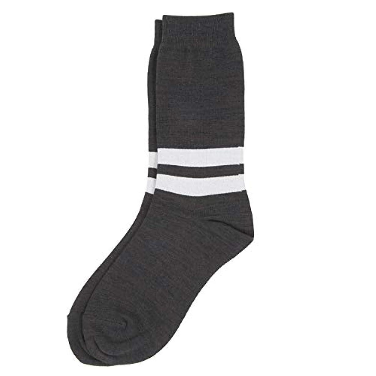 パターン連結する戦争Deol(デオル) ラインソックス 男性用 メンズ [足のニオイ対策] 長期間持続 日本製 無地 靴下 グレー 25cm-27cm