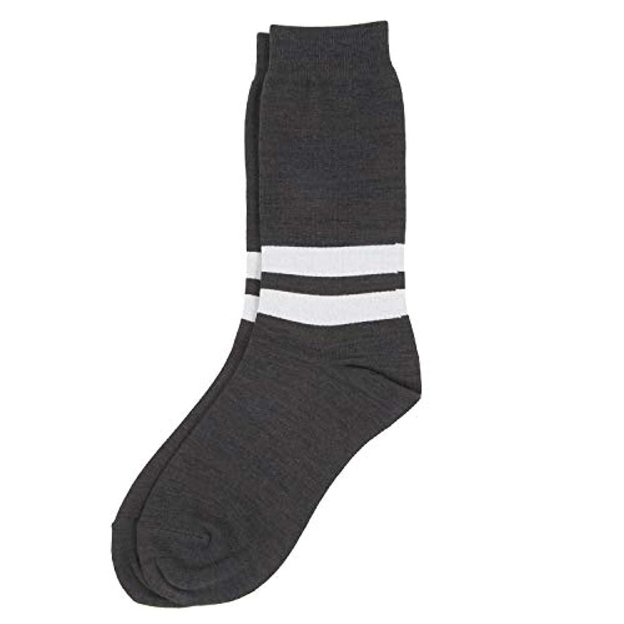 ウェイド凶暴な寄稿者Deol(デオル) ラインソックス 男性用 メンズ [足のニオイ対策] 長期間持続 日本製 無地 靴下 グレー 25cm-27cm