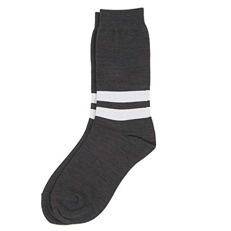 ポット創始者盲目Deol(デオル) ラインソックス 男性用 メンズ [足のニオイ対策] 長期間持続 日本製 無地 靴下 グレー 25cm-27cm