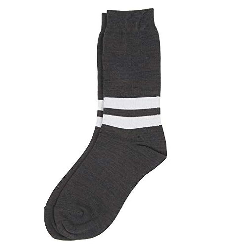 騒呪いでもDeol(デオル) ラインソックス 男性用 メンズ [足のニオイ対策] 長期間持続 日本製 無地 靴下 グレー 25cm-27cm