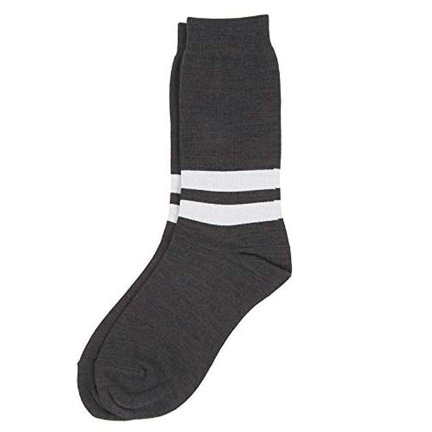 ローズ認知電子レンジDeol(デオル) ラインソックス 男性用 メンズ [足のニオイ対策] 長期間持続 日本製 無地 靴下 グレー 25cm-27cm