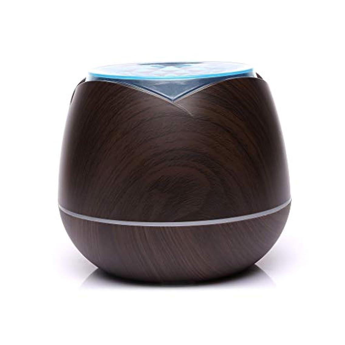 毎月群れ大混乱涼しい霧の空気加湿器、家、ヨガ、オフィス、鉱泉、寝室のために変わる色LEDライトと超音波400ml - 木目 - (Color : Dark wood grain)