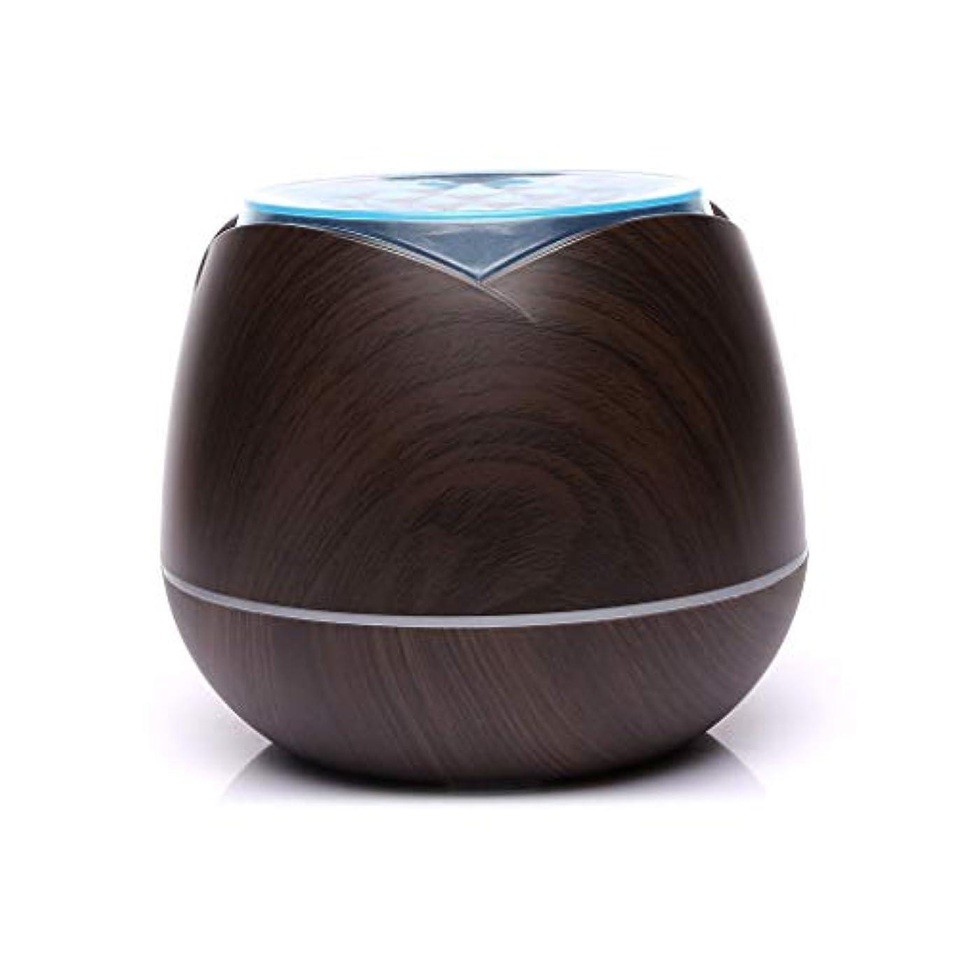 クレタ逮捕洞察力のある涼しい霧の空気加湿器、家、ヨガ、オフィス、鉱泉、寝室のために変わる色LEDライトと超音波400ml - 木目 - (Color : Dark wood grain)